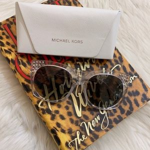 NWT Michael Kors Studded Clear Square Sunglasses